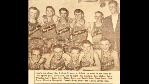 Murdo High School's 1954 basketball team