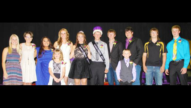 Courtesy Photo Coronation for the 2016 New Underwood Homecoming royalty was held Monday evening, Sept. 12. From left are , junior attendantKelsie Anderson, Fallon Condra, Sierra Oberlander, Brianna Philipsen, Queen Carissa Anderson, King Clay Paulson, Cade Venuizen, Wylie Brunson, Conner Gueno and junior attendant Colton Cogdill. In front are crownbearers Rose Stangle and Cau Rodenbaugh.