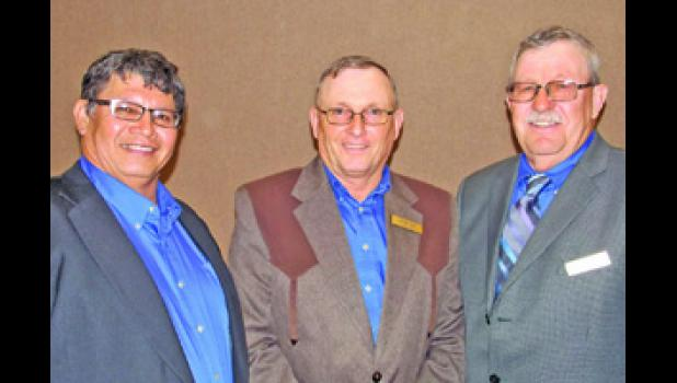 Golden West Telecommunications Cooperative re-elected three board members at their annual meeting, held Sept. 26 in Wall. Pictured from left to right are Ansel Wooden Knife of Interior (District VI), Arnie Hill of White River (District III) and Kenneth Bolzer of Martin (District IV).