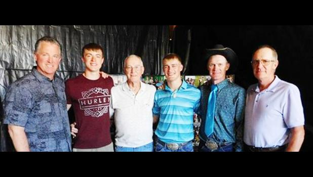"The Wests are a pole vaulting family, with all of them together during the 2017 state meet. From left, great uncle Pat West (13'1""), cousin Gavin West (Sturgis, 12'3"" at state), great grandfather Mike West (11'6""), Cooper West (Philip and region record 14'6""), father Branden West (13'6""), and grandfather Doug West (11'0"")."
