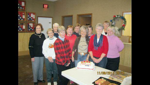 ​The Wheeler-Brooks American Legion Post #173 and its auxiliary each met Nov. 8. Before their separate meetings, they joined for a potluck meal to celebrate the national birthday of the auxiliary. Philip area auxiliary members in attendance were, back row from left, Ardis Ladely, Barb Kroetch, Margaret Rush, Theresa Clements, Rae Crowser and Julie Seager. Front: Kay Ainslie, Gayle Rush, Audrey Neiffer, Joann Pearson and Ruby Huston.
