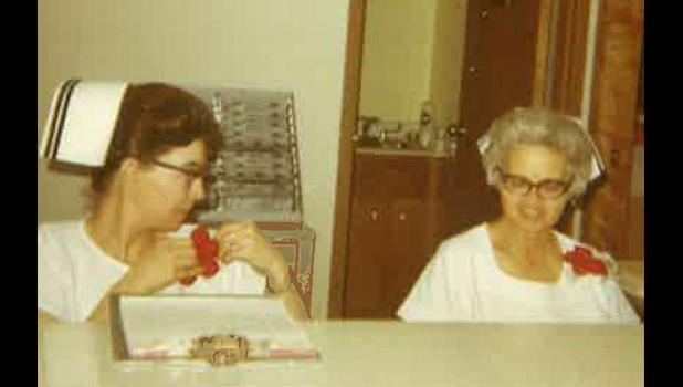 In this photo from yesteryear are registered nurses Nancy Brooks and Shirley Burns when the Philip Nursing Home first opened.