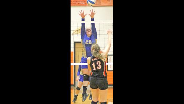 Kyla Sawvell (#20) ready to block the ball.