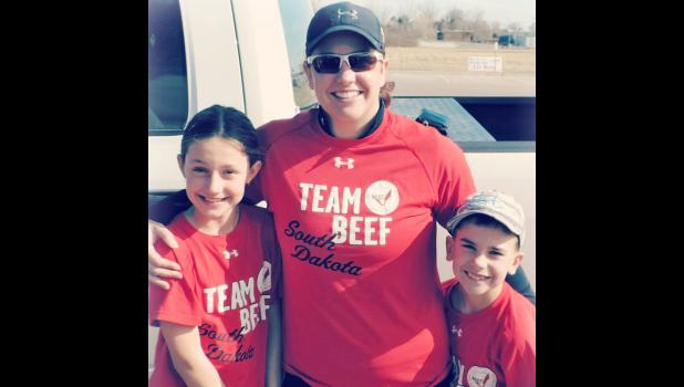 Kayla Wulf, with Maddie and Kingston, run to encourage Olivia and to promote beef in a recent Valentine's Day run.