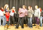 Justena Amiotte, Jasmine Ferguson, Jaslyn Konst, Elise Wheeler and Corbin Kramer. In back are the ever-present student body acting as a Greek chorus, Grace Pekron, Jaisa Snyder, Samantha Schofield, Brittany Park, Anna Piroutek and Megan Hindman. Not shown: Tristen Schofield and Eli McClendon.